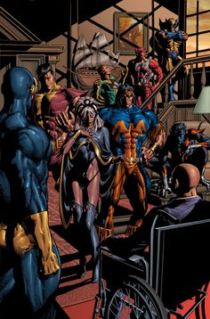 A recreation of the famous scene of the All New, All Different X-Men assembled in the Xavier Mansion, including Thunderbird, Banshee and Sunfire.