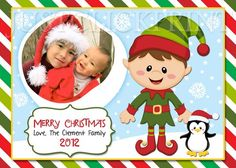 Christmas Elf Family Holiday Custom Photo Card Printable | DigitalDelight - Digital Art  on ArtFire