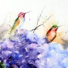 Hummingbirds On Hydrangea Watercolor Print By Dean Crouser
