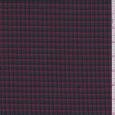 Red Multi Check Wool Suiting - 39302   Discount By The Yard   Fashion Fabrics
