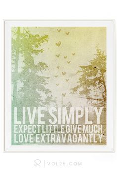 Live Simply   Textured Cotton Canvas Art Print in 4 Sizes   VOL25