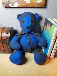 Memory Bear made from a loved one's clothing/ keepsake bear/ bear made from a shirt Xl Shirt, Losing Someone, One Clothing, Gift Certificates, Black Fabric, First Love, Long Sleeve Shirts, Teddy Bear, Bows