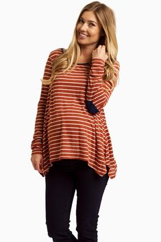 Rust-Striped-Elbow-Patch-Top