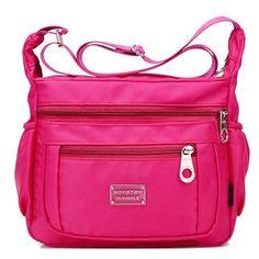 Item Type:  Crossbody Bag Color:  Black,Blue,Dark Blue,Rose Red,Dark Purple,Bright Purple   Material:  Nylon      Weight:  350g   Length:19  cm(7.48'')   Height:26  cm(10.24'')   Width:  11cm(4.33'')   Pattern:  Solid   Inner Pocket:  1  Main Pocket,3 Front Zipper Pockets,1 Back Zipper Pocket,1 Inner Zipper Pocket,2 Side     Rubber Band   Pockets,2 Inner Card Pockets   Closure:  Zipper                             Package Include:   1 * Crossbody Bag