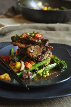 Chinese Beef Shortribs and Vegetable Stir Fry