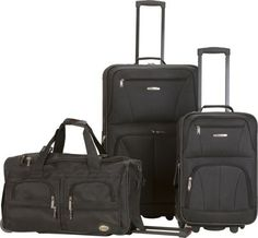 Rockland Luggage 3 Piece Printed Luggage Set, Black, Medium ** Read more details by clicking on the image. 3 Piece Luggage Set, Luggage Sets, Travel Luggage, Pink Leopard, Pink Zebra, Pink Dot, Rolling Duffle Bag, Rockland Luggage, Pink Giraffe