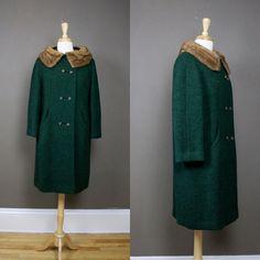 1950s swing coat with mink fur collar / 50s car coat / vintage green coat. $114.00, via Etsy.