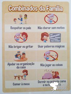 Quadro de Combinados da Família É um auxílio na educação da criança, e pode ser trabalhada em conjunto com o quadro de incentivo. As regras são personalizáveis (COMPORTA 8 REGRAS IMPRESSAS) Tamanho: 30 x 40 cm. ***SOBRE O MATERIAL DOS QUADROS: São impressos em folhas fotográficas de ... Jane Nelsen, Organize Life, Supernanny, Au Pair, Baby Play, Infant Activities, Kids Education, Kids And Parenting, Teaching Kids