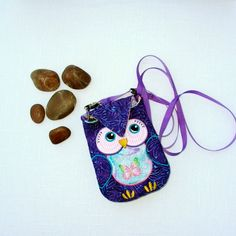 iPhone, iPod, Smart Phone Quilted and Embroidered Baby Owl Purse, Case with Shoulder and Wrist Straps in Purple and Pink