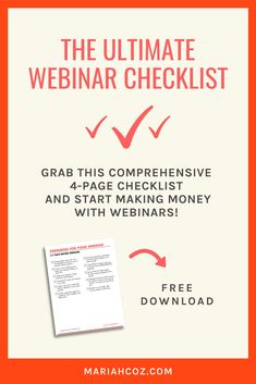 Grab the ultimate webinar checklist. Learn exactly what to do when with 4 pages of printable checklists to prepare with must-do actions - for entrepreneurs and business owners. #webinartips #entrepreneurtips #mariahcoz