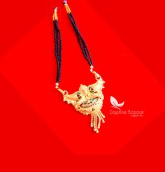 ME53, Daphne Handmade Golden Mangalsutra Necklace With Black Beads , Gift for Wife