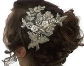 vintage hair band, vintage style tiara with lace freshwater pearl,