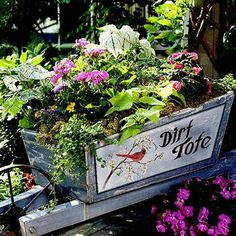 Recycle a container- Scour your garage, basement or thrift store for unusual items to hold potted plants.What you'll need:  •  Plants in various sizes of pots  •  Salvaged containers such as buckets, wheelbarrows, wagons, bicycles with baskets, toy trucks, galvanized watering cans or weathered wooden crates  •  Moss