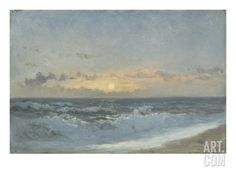 Sunset over the Sea, 1900 (Oil on Board) Giclee Print by William Pye at Art.com