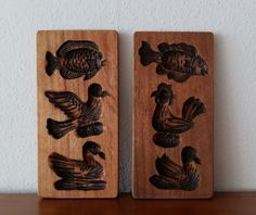 SET OF TWO ANTIQUE HAND CARVED WOOD CANDY CHOCOLATE MOLD BIRD FISH