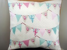 Decorative Throw Pillow Queens Diamond Jubilee bunting union jacks nautical roses spots turquoise green red blue pink London 2012 18 inch. $35.00, via Etsy.