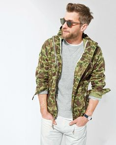 APR '14 Style Guide: J.Crew Penfield® camo gibson jacket, suede fleece sweatshirt and the selvedge 484 jeans in white.