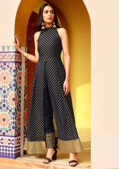 Buy Navy Foil Halter Neck Slit Maxi Tunic for women online in India. Shop the latest collection of designer Indo Western High Slit Tunics for ladies and girls with COD and easy return at Indya Indian Designer Outfits, Indian Outfits, Designer Dresses, Western Outfits For Women, Clothes For Women, Indo Western Dress For Girls, Indian Gowns Dresses, Maxi Dresses, Maxi Outfits