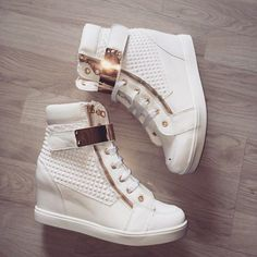 Shoes: high top, high tops, white, golde, gold, luxury, luxury ...