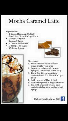 Mocha Caramel Latte Mocha Coffee, Coffee Cafe, Coffee Drinks, Keurig Recipes, Starbucks Recipes, Chocolate Chip Frappe, Chocolate Syrup, Cappuccino Recipe, Latte Recipe