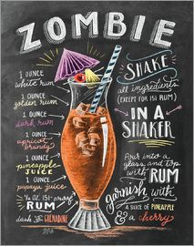 Because I haven't shared a cocktail drawing in a while and it's almost Halloween!🍹You can find this recipe in the 2018 cocktail calendar! Cheers to the weekend! Bar Drinks, Cocktail Drinks, Alcoholic Drinks, Beverages, Mojito, Zombie Cocktail, Zombie Food, Zombie Drink, Papaya Juice