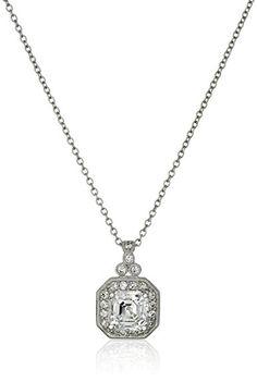 "Platinum-Plated Sterling Silver Swarovski Zirconia Zirconia Asscher Cut Antique Pendant Necklace (11mm), 16"" + 2"""