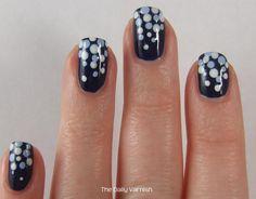Nail Art Polka Dot Fade (using: butter London's Royal Navy, Ulta's Snow White, Julep's Jessica). Gorgeous!