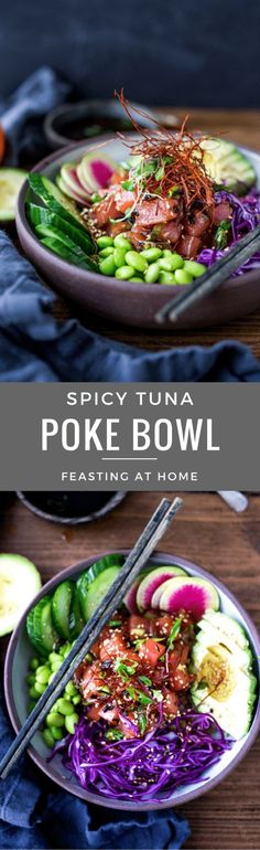 Spicy Tuna Poke Bowl- made with ahi tuna (or TOFU!) served over brown rice or kelp noodles with avocado cucumber radish and Citrus Ponzu Sauce! Raw Fish Recipes, Seafood Recipes, Whole Food Recipes, Cooking Recipes, Healthy Recipes, Ahi Poke, Tuna Poke, Poke Salad, Kelp Noodles