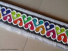 Flower Border Rangoli Design-Simple Border Rangoli Design with colors by Nagu's Handwork - YouTube