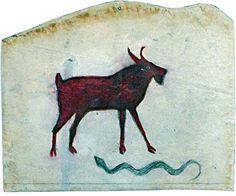 Bill Traylor (1854-1949). A Goat & a Snake.