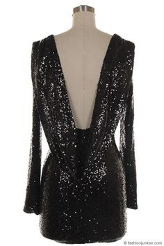 Sequin Backless Draped Open Back Long Sleeve Mini Dress-Black - Sexy Sequin Dresses for New Year's Eve!