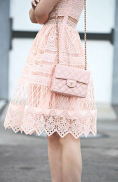 A very sweet light pink dress from lace with a bag - LadyStyle