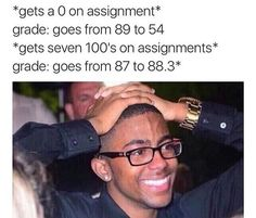 Every. Damn. Semester. And it's always on that one assignment that the instructor refuses to grade on a curve, no matter HOW ambiguous the questions are.