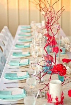Teal and white wedding