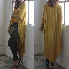 """X """"Another Moon"""" Maxi High Low Poncho Tunic Top High low maxi poncho top. Has sleeves. Available in black, red, mustard and ivory. This listing is for the MUSTARD. Brand new. True to size. Bare Anthology Tops Tees - Short Sleeve"""