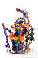 "Scott Deppe ""Take Me 2 the MOTHERSHIP"" Alien Montage Bubbler on a Rainbow Cane Pull Stand"