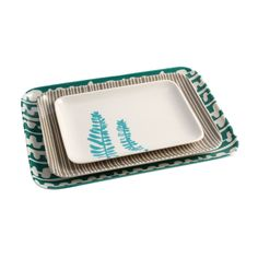 These melamine trays have been inspired by Scandinavian, mid-century modern stylings of pattern play and natural landscapes. Super durable and multifunctional, use one for serving appetizers before a m...  Find the Retro Play Trays - Set of 3, as seen in the Colorful Scandinavian Collection at http://dotandbo.com/collections/colorful-scandinavian?utm_source=pinterest&utm_medium=organic&db_sku=LJD0005