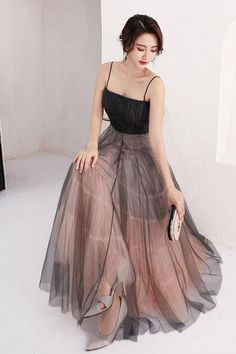 Buy A Line Scoop Spaghetti Straps Black Tulle Prom Dresses, Long Evening Dresses online. Rock one of the season's hottest looks in a burgundy homecoming dress or choose a timeless classic little black dress. Ombre Prom Dresses, Burgundy Homecoming Dresses, Tulle Prom Dress, Modest Dresses, Formal Dresses, Modest Clothing, Black Tulle Skirt Outfit, Dress Skirt, Party Dress