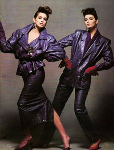 Michael Hoban ~ North Beach Leather Cindy Crawford and Joan Severance 1980s Fashion Trends, 80s Trends, 80s And 90s Fashion, Fur Fashion, Leather Fashion, Womens Fashion, Fashion Dresses, North Beach, Costume