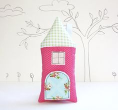 Tooth Fairy Pillow House Pillow  Pink  Polka Dot by AppleWhite,