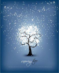 Crystal snowflake tree vector graphics