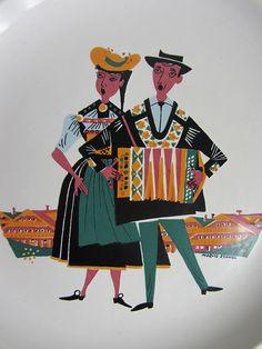 Vintage, Moritz Kennel, Fondue dish, Landert Keramik, Swiss folk art, Folklore