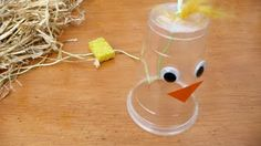 CLUCKERS! :  this is a fun craft i did when i was younger, and am now doing it with my kids. you can also use a yellow or red cup to make it more chicken or rooster like. the wet sponge really makes it sound like a chicken clucking!