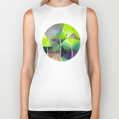 Flamingo P18 Biker Tank by Pia Schneider [atelier COLOUR-VISION] #art #trees #branches #flamingo #polygons #geometric #green #grey #purple #piaschneider #landscape #fashionable #bikertank #tees #tank #unisex #men #women #wearableart