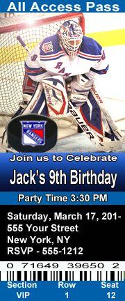 New York Rangers Hockey Theme Birthday Party Invitations Ticket Style Personalized