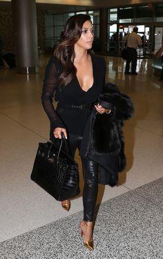 Kim Kardashian wearing Hermes Birkin Bag in Black Croc and Christian Louboutin T-Spiga Pumps. Kim Kardashian 2012, Kardashian Style, Kardashian Kollection, Kardashian Nails, Kardashian Wedding, Kardashian Fashion, Mode Outfits, Stylish Outfits, Fashion Outfits