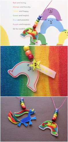 Rainbow Shrinky Dink Film Necklaces inspired by My Color Is Rainbow book.