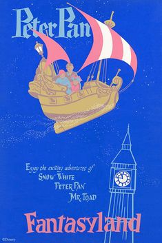 """""""Peter Pan"""" Disneyland Entrance Poster (Walt Disney, A handsome hand-pulled silkscreen - Available at 2017 July 1 - 2 Animation Art -. Peter Pan Disneyland, Disneyland Rides, Disney Rides, Disneyland Resort, Vintage Disney Posters, Vintage Disneyland, Disney Screensaver, Authorized Disney Vacation Planner, Disney Parks"""