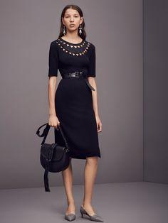 Cutout collar neckline on black dress with half sleeves. Altuzarra Pre-Fall 2016 Fashion Show