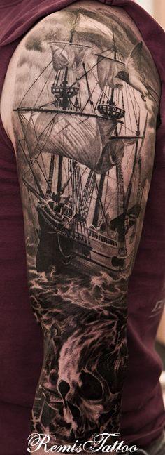 black and grey ship by Remis, remistattoo, realism, realistic tattoo, tattoo ideas, inspiration, skull, ship, sleeve, arm, half sleeve, full sleeve